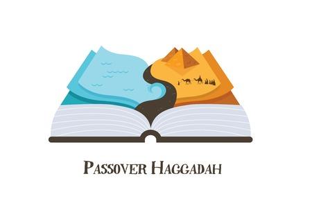 抽象的な過ぎ越しの祭り物語 haggadah の本。エジプトからのユダヤ人。デザインのベクトル図  イラスト・ベクター素材