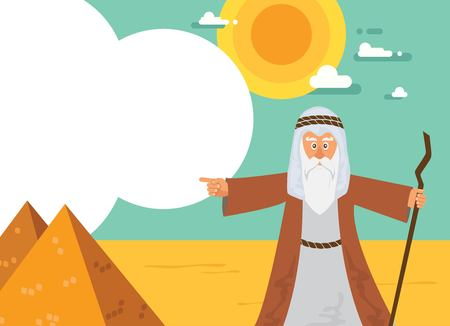 passover: Moses from Passover story and Egypt pyramid landscape. vector illustration card