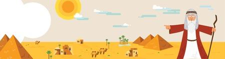 유월절 이야기와 이집트 풍경에서 모세와 웹 배너. 추상적 인 디자인 벡터 일러스트 레이션 스톡 콘텐츠