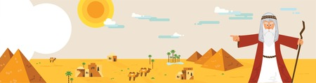 Web-Banner mit Moses von Pessach Geschichte und Ägypten Landschaft. abstraktes Design Vektor-Illustration Standard-Bild - 71966601