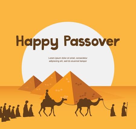 ヘブライ語でユダヤ教の祝日カード テンプレート幸せ過ぎ越しの祭り
