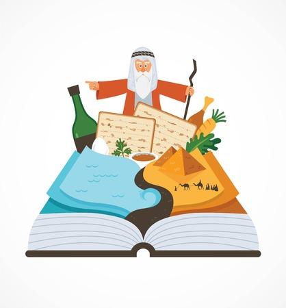 伝統的な料理と Mozes 過ぎ越しの祝い絵本 haggadah を抽象化します。