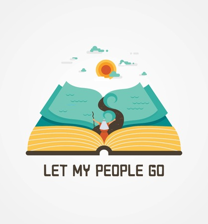 let out: abstract passover story haggadah book. Mozes ordering let my people go out of Egypt. vector and illustration
