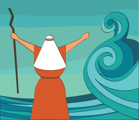 splitting: Mozes splitting the red sea and ordering let my people go out of Egypt. vector and illustration Stock Photo