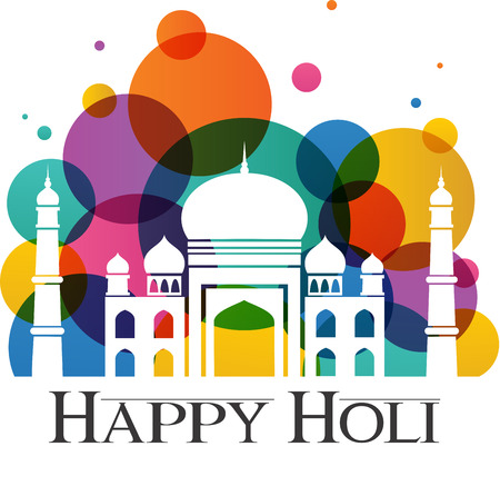 Happy Holi. Taj Mahal with abstract traditional colorful dust for Holi holiday Illustration