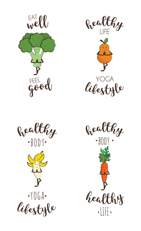salud y deporte: Set of cute fruits and vegetables doing sport with inspiring quote Vectores