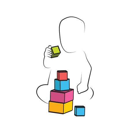 Kid Playing Toys Blocks, child development and educational games . kids intellectual growth and silhouettes of playing kid
