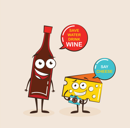 Vector cartoons of comic characters bottle of wine and cheese. Cartoon face food emoji. Funny food concept. Ilustracja