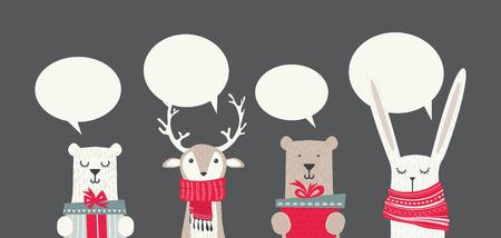 Banner con simpatici animali invernali con regali e sciarpe. allegri chritmas e felice anno nuovo. illustrazione vettoriale Archivio Fotografico - 87346305