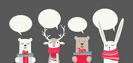 banner with cute winter animals with presents and scarfs. merry chritmas and happy new year. vector illustration Illustration
