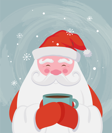 Santa drinking a hot drink and warm himself. Vector christmas illustration