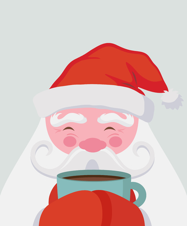 Santa drinking a hot drink and warm himself. Vector christmas illustration