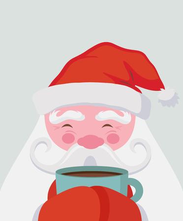 Babbo Natale beve una bevanda calda e si riscalda. Illustrazione di Natale vettoriale Vettoriali