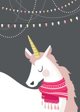 magical unicorn at winter scene. merry christmas and happy new year Illustration