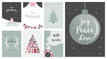 illustration merry christmas cards illustrations and icons lettering design collection no 7 - No Photo Christmas Cards