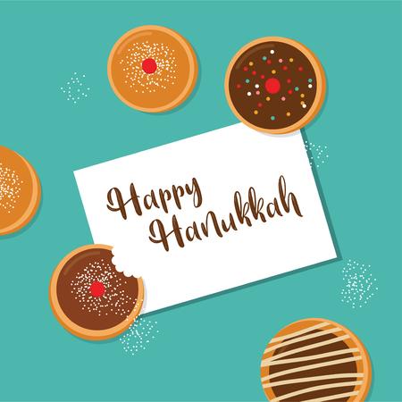 happy Hanukkah- traditional jewish holiday . traditional donut Stock Photo