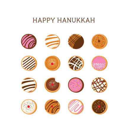 Hanukkah doughnut , Jewish holiday symbol. sweet traditional bake Illustration