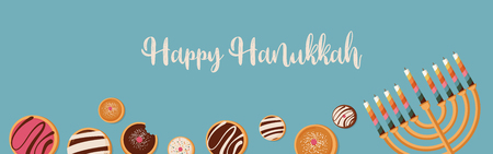 banner for Jewish holiday. Hanukkah traditional dougnuts and menora
