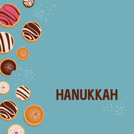 Hanukkah dougnut , Jewish holiday symbol. sweet traditional bake