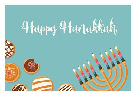 Hanukkah doughnut and menora, Jewish holiday symbols. sweet traditional bake. greeting card