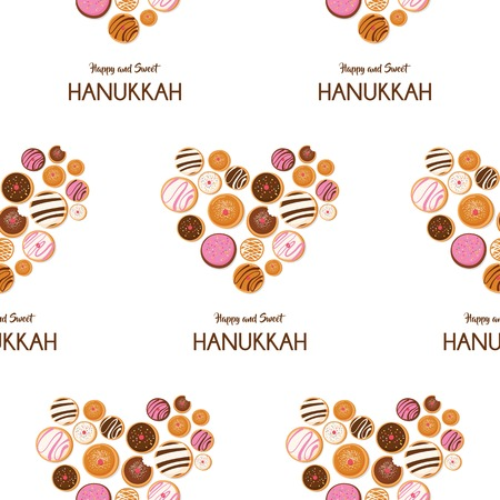Hanukkah doughnut , Jewish holiday symbol. sweet traditional bake. seamless pattern