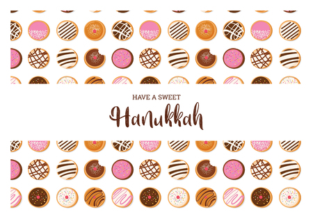 Hanukkah doughnut , Jewish holiday symbol. sweet traditional bake. greeting card