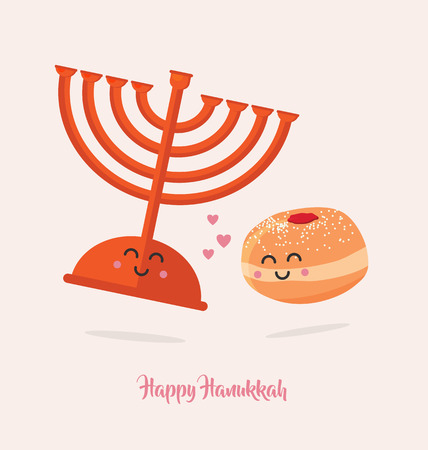 Hanukkah dougnut and Menora , Best friends. Jewish holiday symbols.