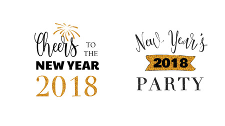 Happy New Year typographic emblems set. text design. Black, white and gold. Usable for banners, greeting cards, gifts etc Vectores