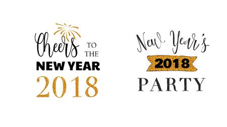 Heureux ensemble emblèmes typographiques de nouvel an. conception de texte. Noir, blanc et or. Utilisable pour les bannières, cartes de souhaits, cadeaux, etc.