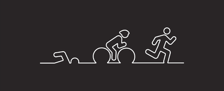 Vector illustratie triatlon, plat ontwerp