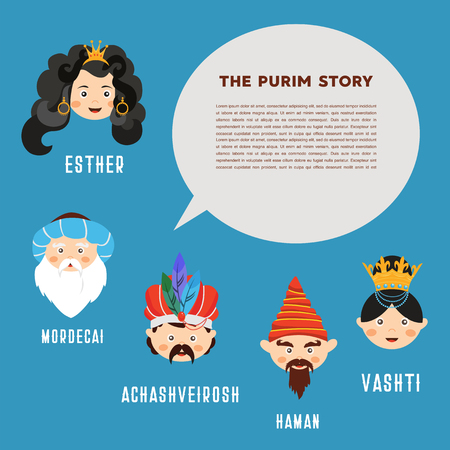 Happy Jewish New Year Purim. The story of Purim with traditional characters vector illustration.