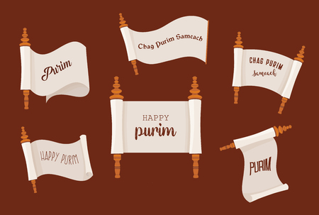 the story of Purim. Jewish ancient scroll set. banner template illustration