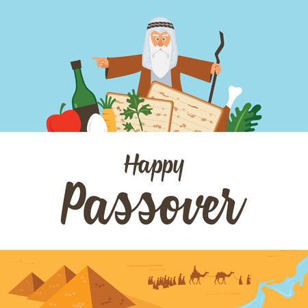 Passover Haggadah design template. The story of Jews exodus from Egypt. traditional icons and desert Egypt scene.