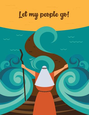 Moïse fendant la mer rouge et ordonnant que mon peuple sorte d'Égypte. histoire de la Pâque juive. Vecteurs