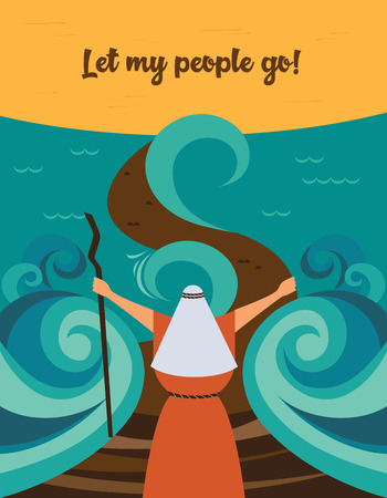 Moisés partió el mar rojo y ordenó que mi pueblo saliera de Egipto. historia de la festividad judía de la Pascua. Ilustración de vector