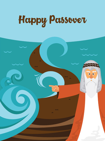 Mozes splitting the red sea and ordering let my people go out of Egypt. story of Jewish holiday Passover.
