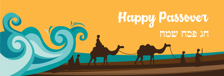 Jewish holiday banner template for Passover holiday. Group of People with Camels Caravan Riding in Realistic Wide Desert Sands in Middle East.