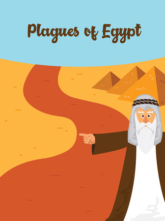 The Ten Plagues - An illustration of the first of the ten plagues of Egypt. the story of Jewish holiday Passover. Vettoriali