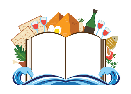 Abstract pass over story haggadah book over traditional food and holiday icons. Illustration
