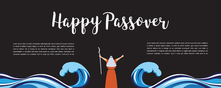Moses separate sea for Passover holiday over night background, flat design vector illustration.