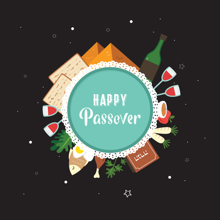 Passover seder plate with flat traditional icons over night background. greeting card design template.