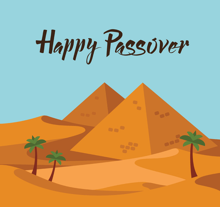 happy Passover  Jewish holiday card template with desert Egypt view. vector illustration