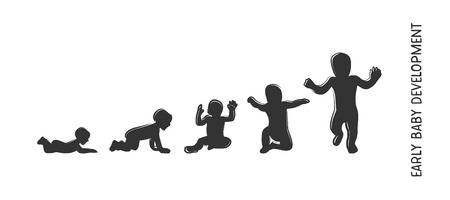 Icono de desarrollo del bebé, etapas de crecimiento infantil. hitos de niño del primer año. ilustración vectorial