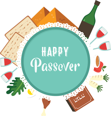 Passover seder plate with flat traditional icons. greeting card design template. abstract vector illustration