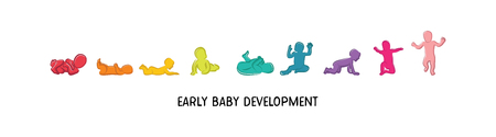 Baby development icon, child growth stages. toddler milestones of first year. vector illustration. Reklamní fotografie - 96115461