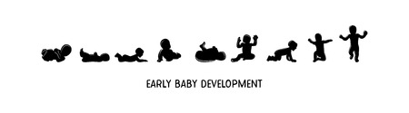 Baby development icon, child growth stages. Toddler milestones of first year. vector illustration. Stock Illustratie