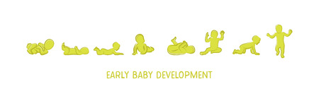 Baby development icon, child growth stages. toddler milestones of first year. Banque d'images - 95896389