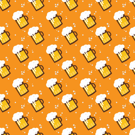 Seamless beer pattern. Beer mugs and glasses on an orange background. St Patrick's and Oktoberfest illustration. Vector illustration.