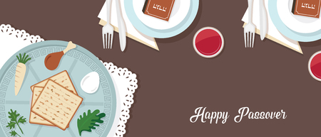 Traditional passover table for Passover dinner with passover plate. vector illustration template banner design Stock Vector - 96713030