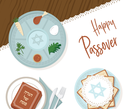 traditional passover table for Passover dinner with passover plate and Hagaddah story. vector illustration template design
